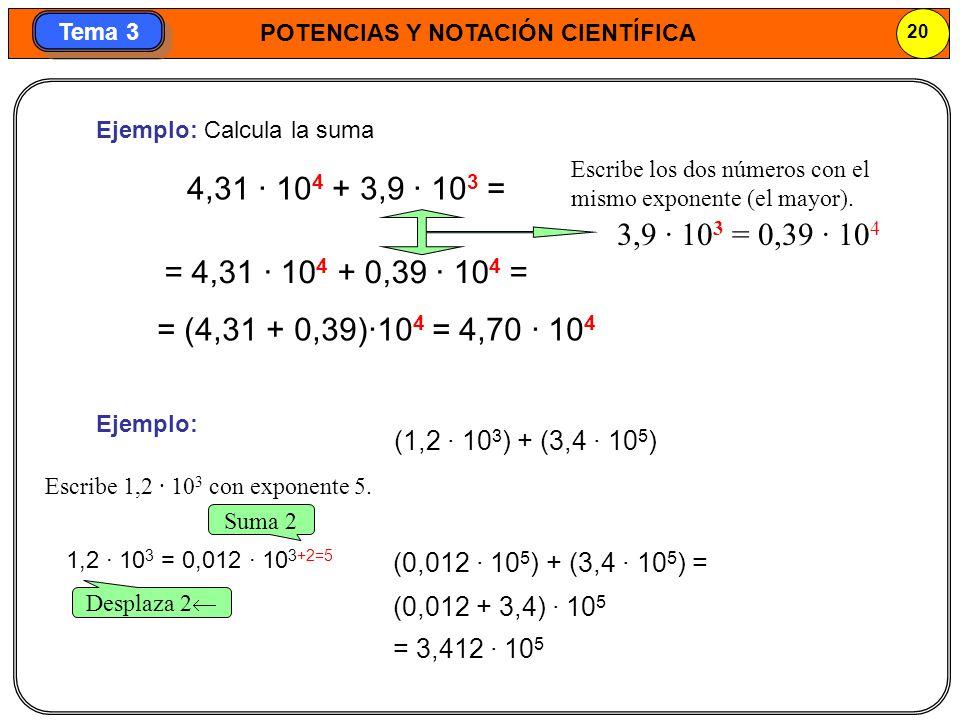 POTENCIAS Y NOTACIÓN CIENTÍFICA 20 Tema 3 4,31 · 10 4 + 3,9 · 10 3 = = 4,31 · 10 4 + 0,39 · 10 4 = = (4,31 + 0,39)·10 4 = 4,70 · 10 4 Ejemplo: Ejemplo