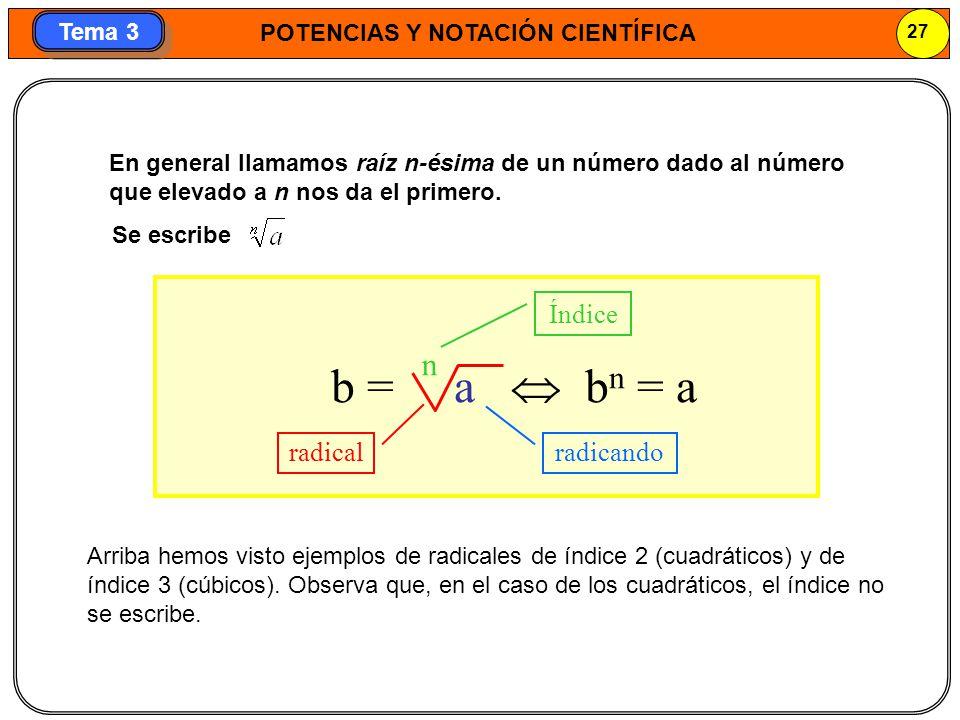 POTENCIAS Y NOTACIÓN CIENTÍFICA 27 Tema 3 En general llamamos raíz n-ésima de un número dado al número que elevado a n nos da el primero. radical radi