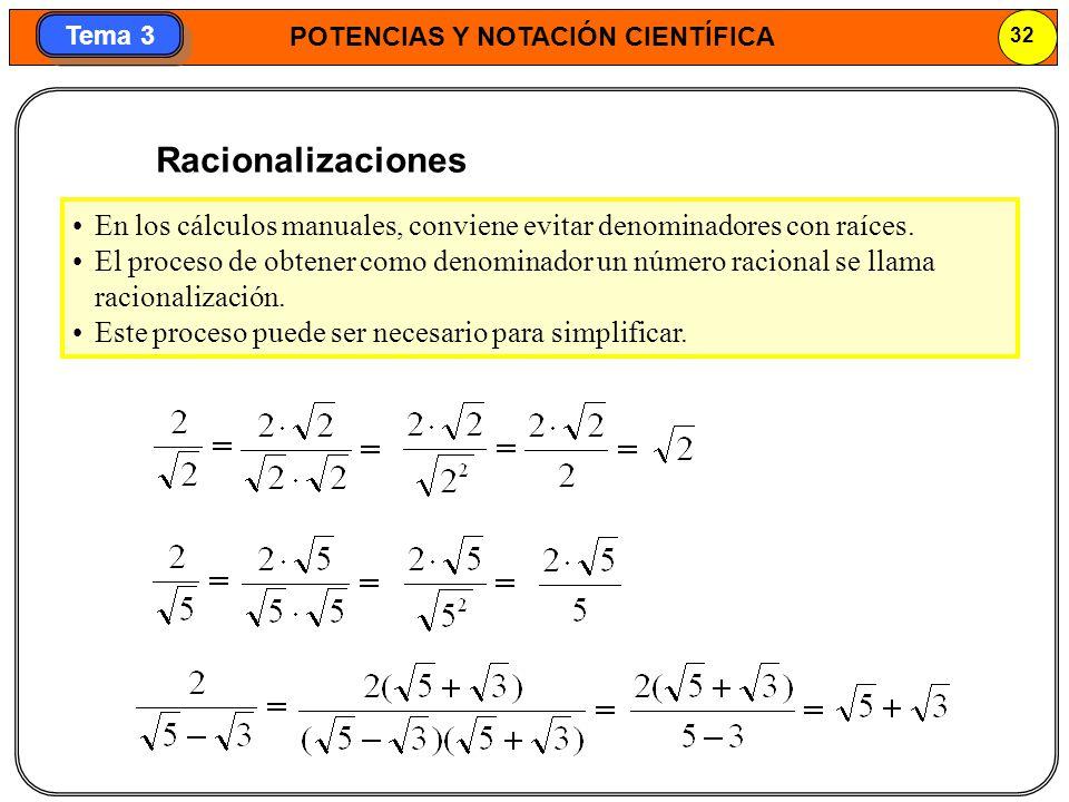 POTENCIAS Y NOTACIÓN CIENTÍFICA 32 Tema 3 Racionalizaciones En los cálculos manuales, conviene evitar denominadores con raíces. El proceso de obtener