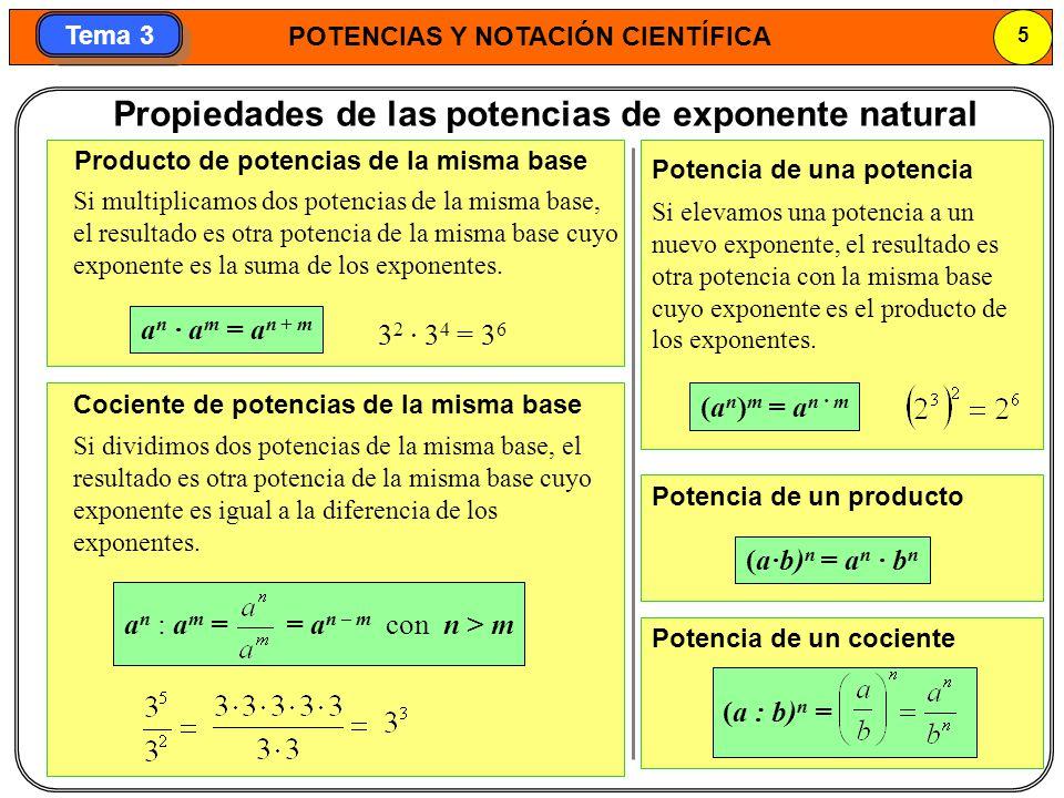 POTENCIAS Y NOTACIÓN CIENTÍFICA 5 Tema 3 Propiedades de las potencias de exponente natural Producto de potencias de la misma base Si multiplicamos dos