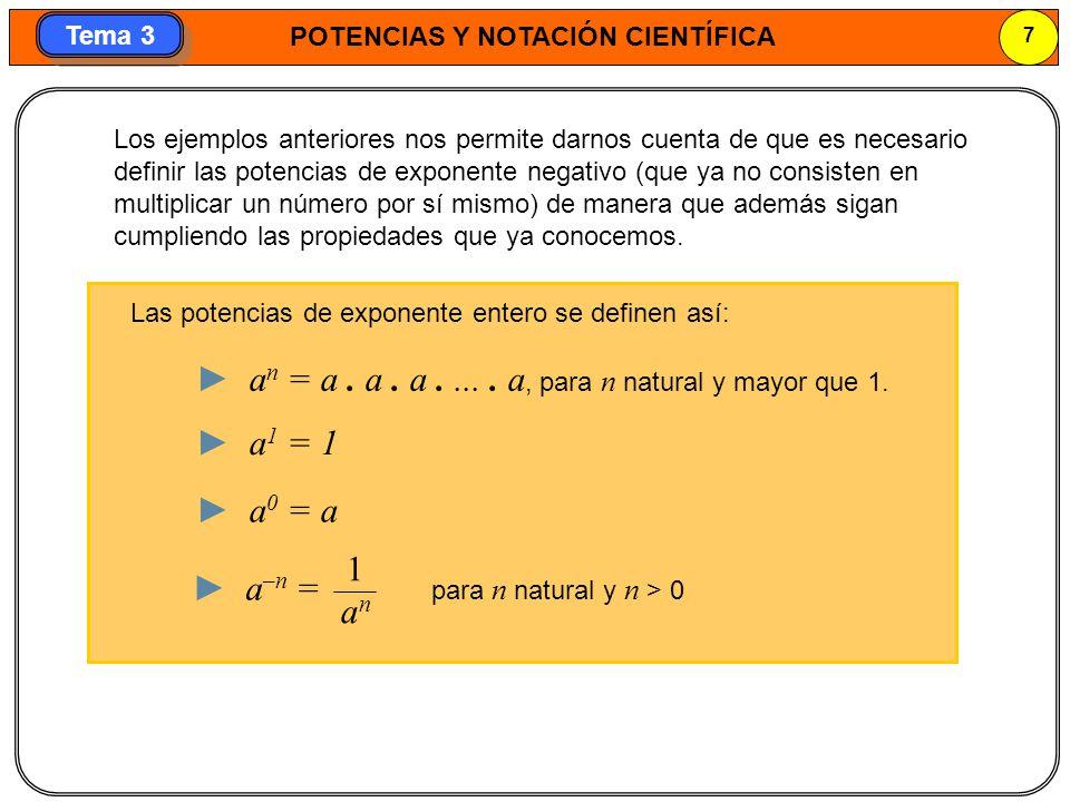 POTENCIAS Y NOTACIÓN CIENTÍFICA 8 Tema 3 Potencias de exponente negativo con la calculadora Cálculo de (3,4) –2 con la calculadora 3, 4 x^y 2 = En la pantalla aparece