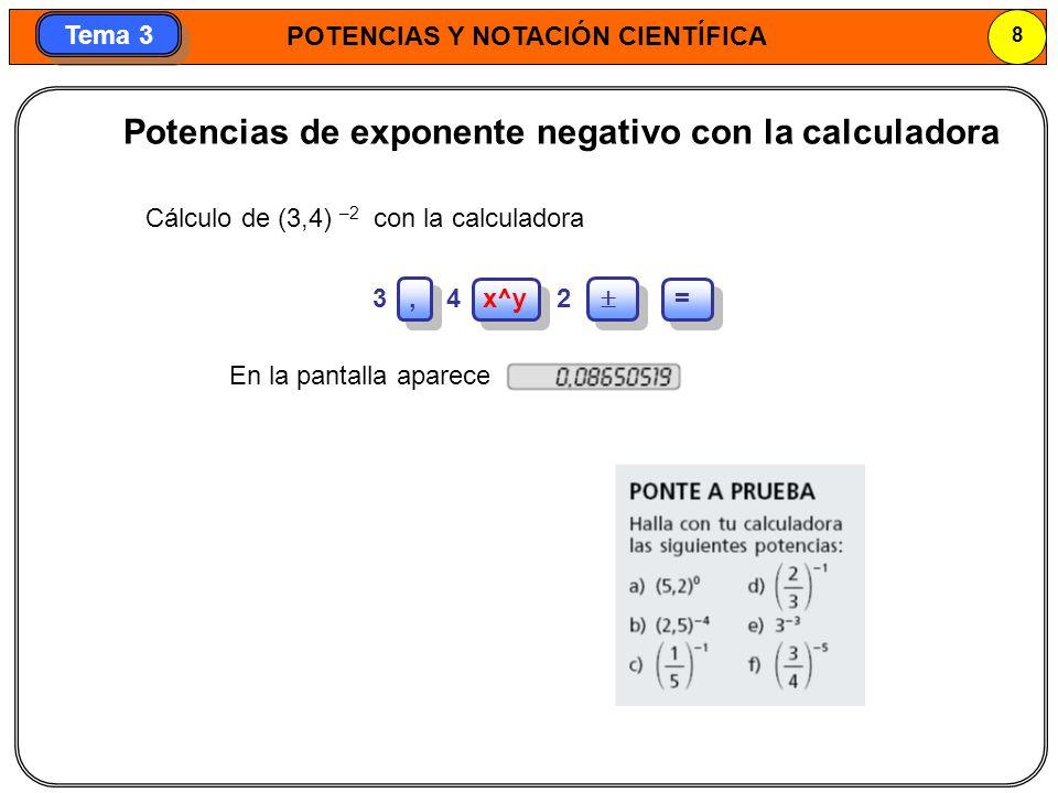 POTENCIAS Y NOTACIÓN CIENTÍFICA 8 Tema 3 Potencias de exponente negativo con la calculadora Cálculo de (3,4) –2 con la calculadora 3, 4 x^y 2 = En la