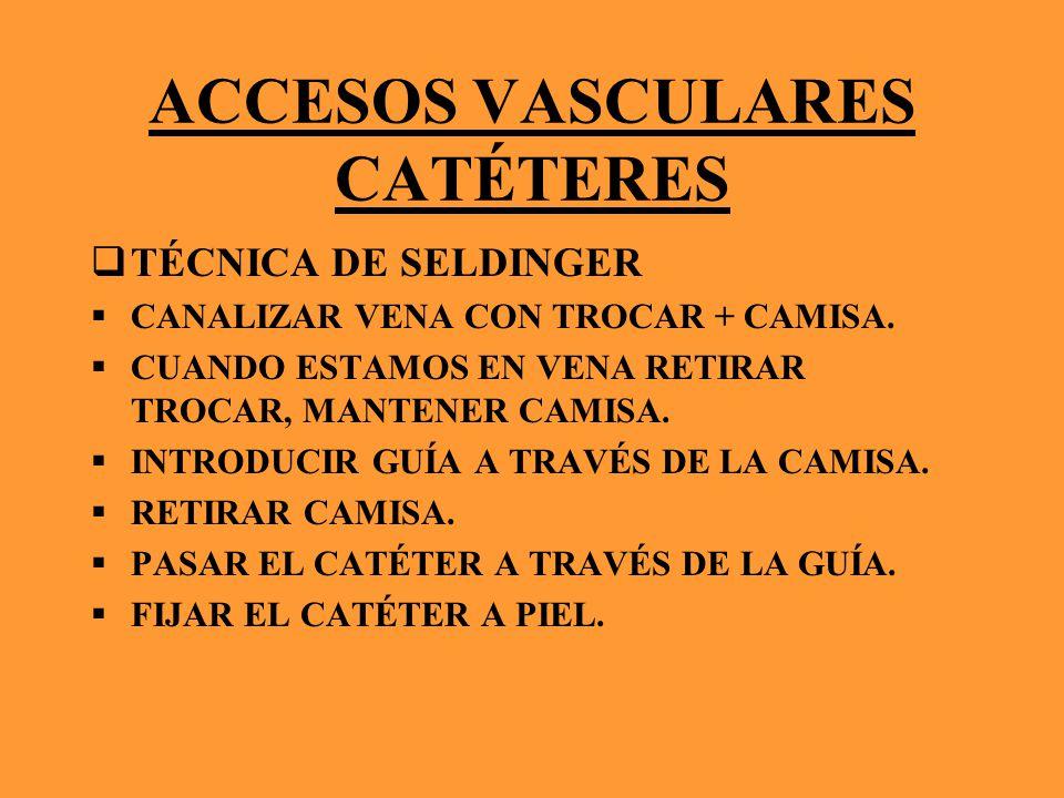 ACCESOS VASCULARES CATÉTERES TÉCNICA DE SELDINGER CANALIZAR VENA CON TROCAR + CAMISA. CUANDO ESTAMOS EN VENA RETIRAR TROCAR, MANTENER CAMISA. INTRODUC