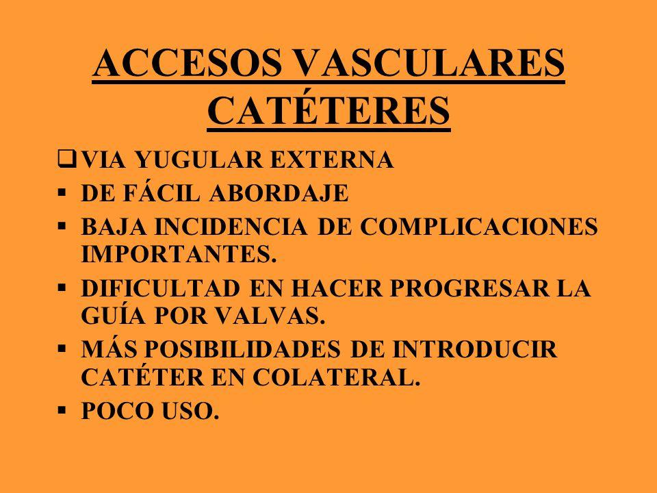 ACCESOS VASCULARES CATÉTERES VIA YUGULAR EXTERNA DE FÁCIL ABORDAJE BAJA INCIDENCIA DE COMPLICACIONES IMPORTANTES.