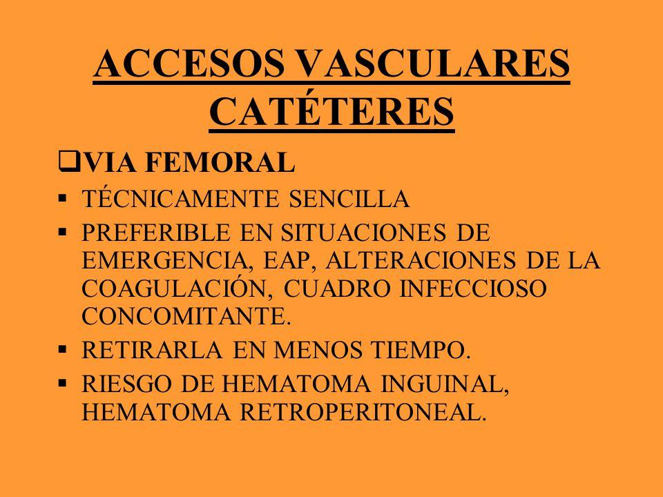 ACCESOS VASCULARES CATÉTERES VIA FEMORAL TÉCNICAMENTE SENCILLA PREFERIBLE EN SITUACIONES DE EMERGENCIA, EAP, ALTERACIONES DE LA COAGULACIÓN, CUADRO IN