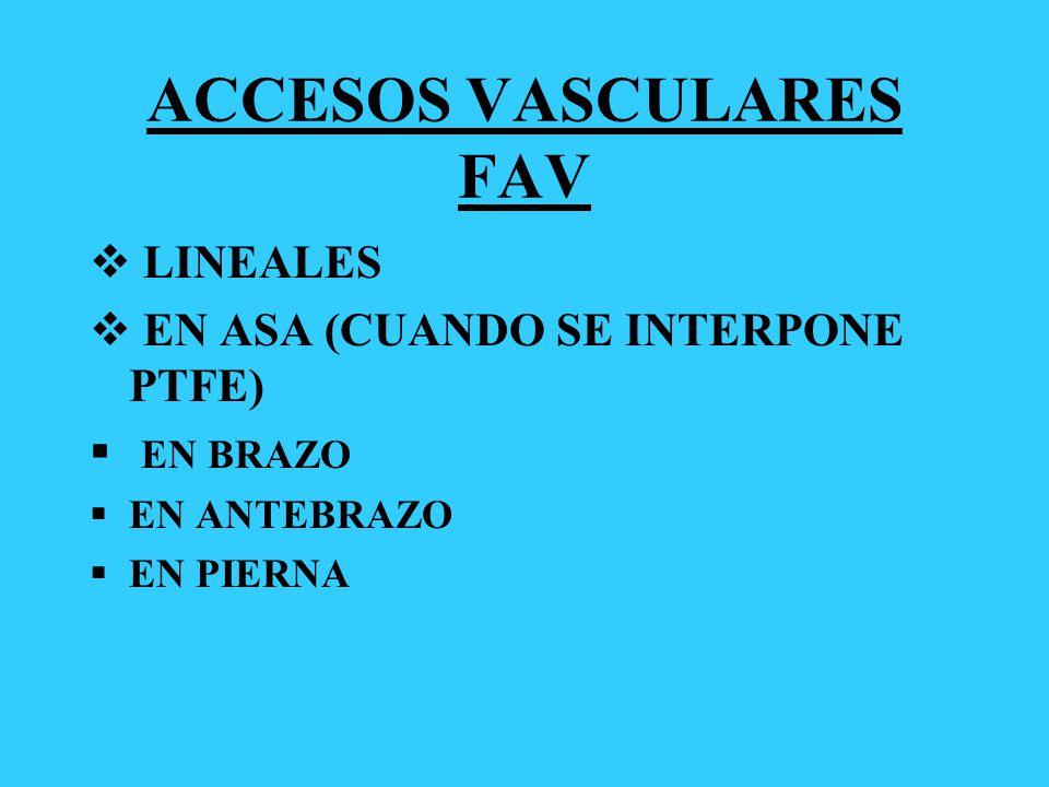 ACCESOS VASCULARES FAV LINEALES EN ASA (CUANDO SE INTERPONE PTFE) EN BRAZO EN ANTEBRAZO EN PIERNA