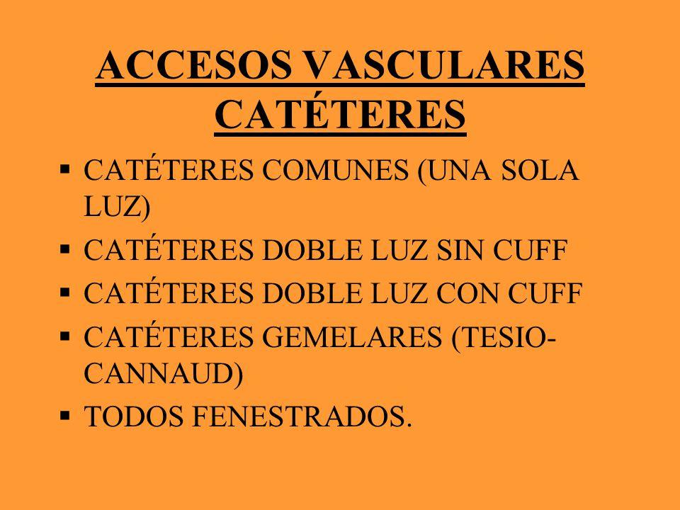 ACCESOS VASCULARES CATÉTERES CATÉTERES COMUNES (UNA SOLA LUZ) CATÉTERES DOBLE LUZ SIN CUFF CATÉTERES DOBLE LUZ CON CUFF CATÉTERES GEMELARES (TESIO- CA
