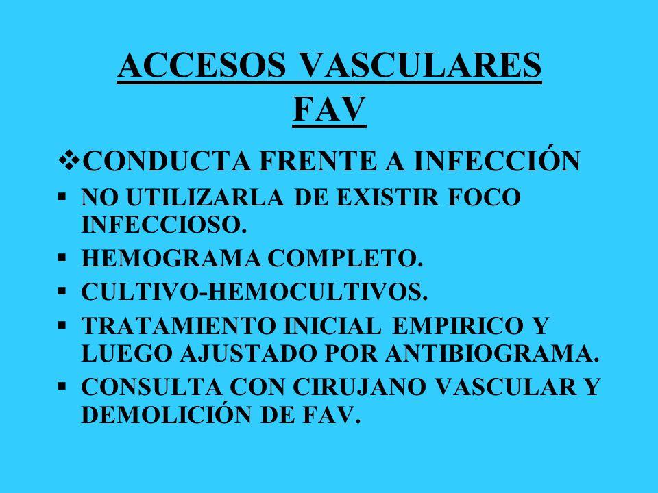 ACCESOS VASCULARES FAV CONDUCTA FRENTE A INFECCIÓN NO UTILIZARLA DE EXISTIR FOCO INFECCIOSO. HEMOGRAMA COMPLETO. CULTIVO-HEMOCULTIVOS. TRATAMIENTO INI