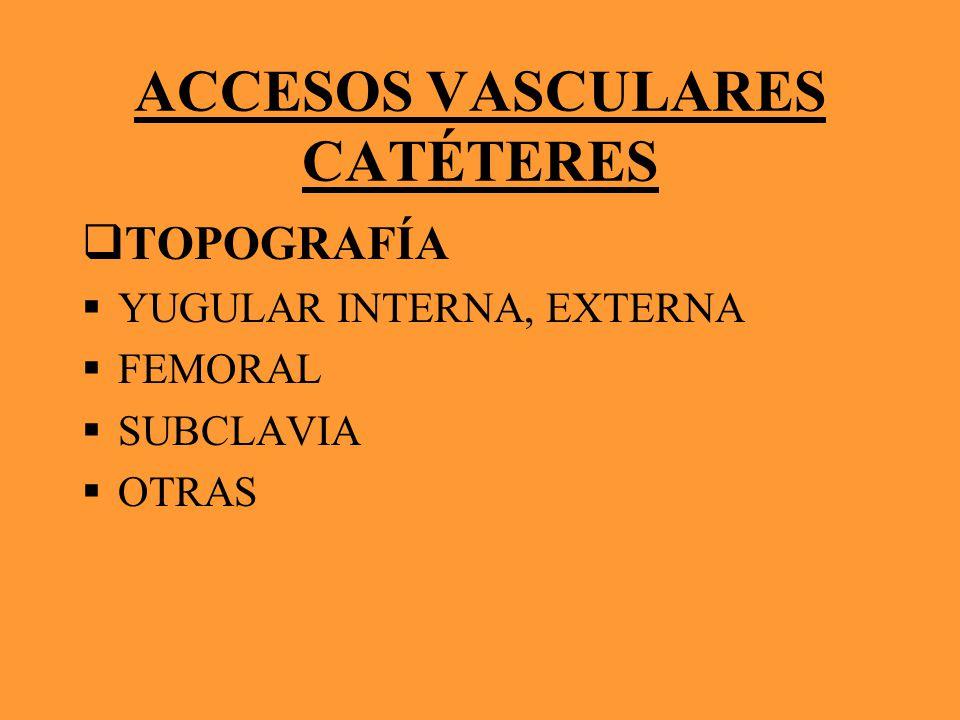 ACCESOS VASCULARES CATÉTERES TOPOGRAFÍA YUGULAR INTERNA, EXTERNA FEMORAL SUBCLAVIA OTRAS