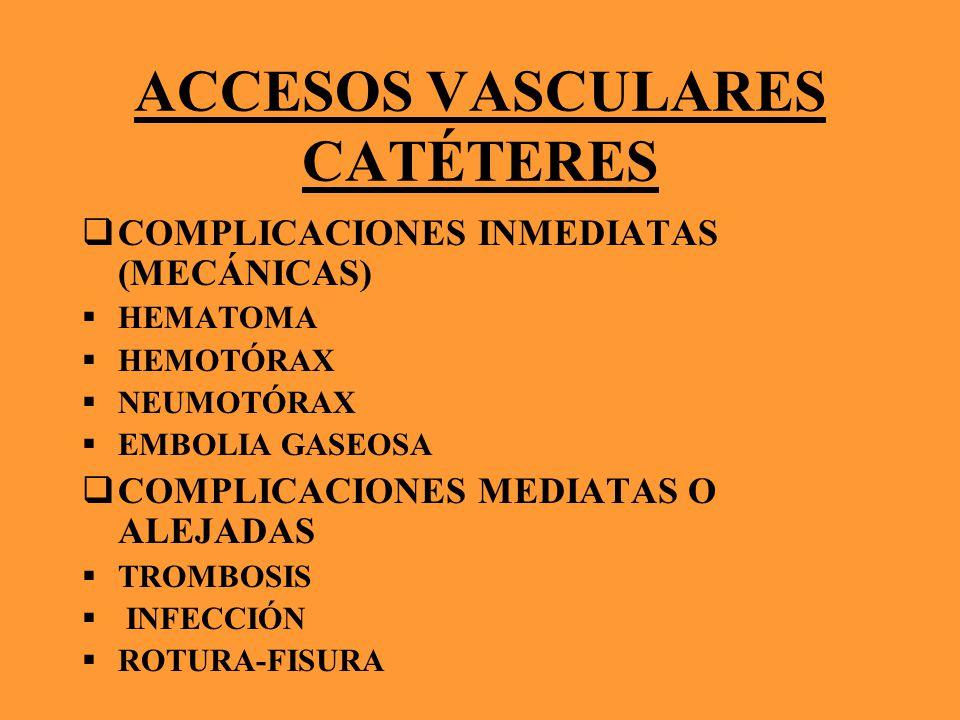 ACCESOS VASCULARES CATÉTERES COMPLICACIONES INMEDIATAS (MECÁNICAS) HEMATOMA HEMOTÓRAX NEUMOTÓRAX EMBOLIA GASEOSA COMPLICACIONES MEDIATAS O ALEJADAS TR