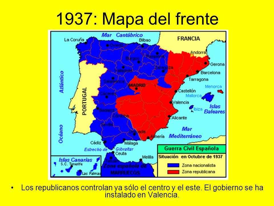 1937 : Movimientos de las tropas, frentes y batallas: Mapa del periodo. Zona rebelde. Zona republicana.
