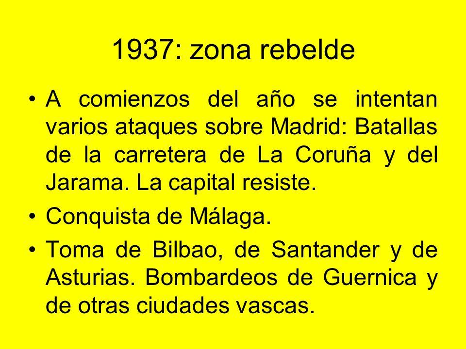 1937: Mapa del frente Los republicanos controlan ya sólo el centro y el este. El gobierno se ha instalado en Valencia.