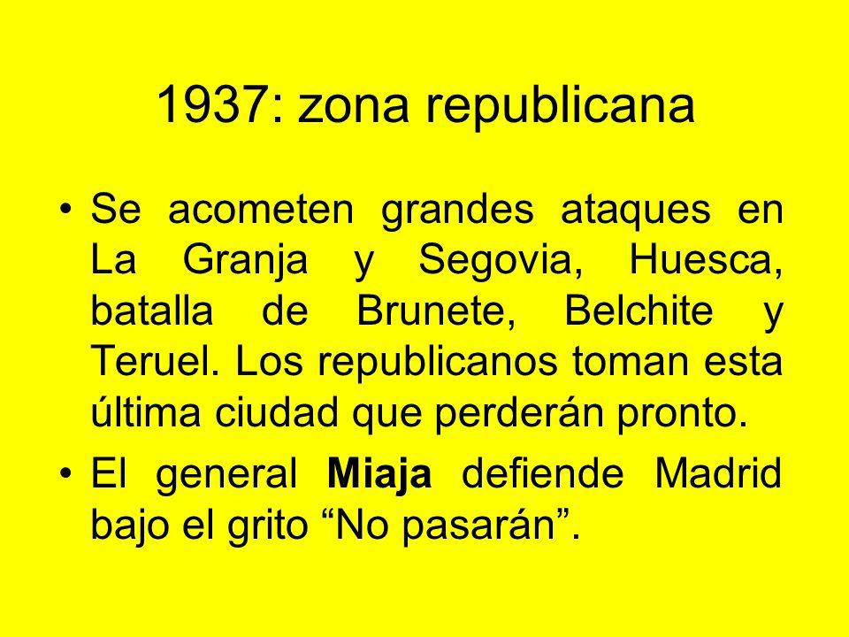 1937: zona rebelde A comienzos del año se intentan varios ataques sobre Madrid: Batallas de la carretera de La Coruña y del Jarama. La capital resiste