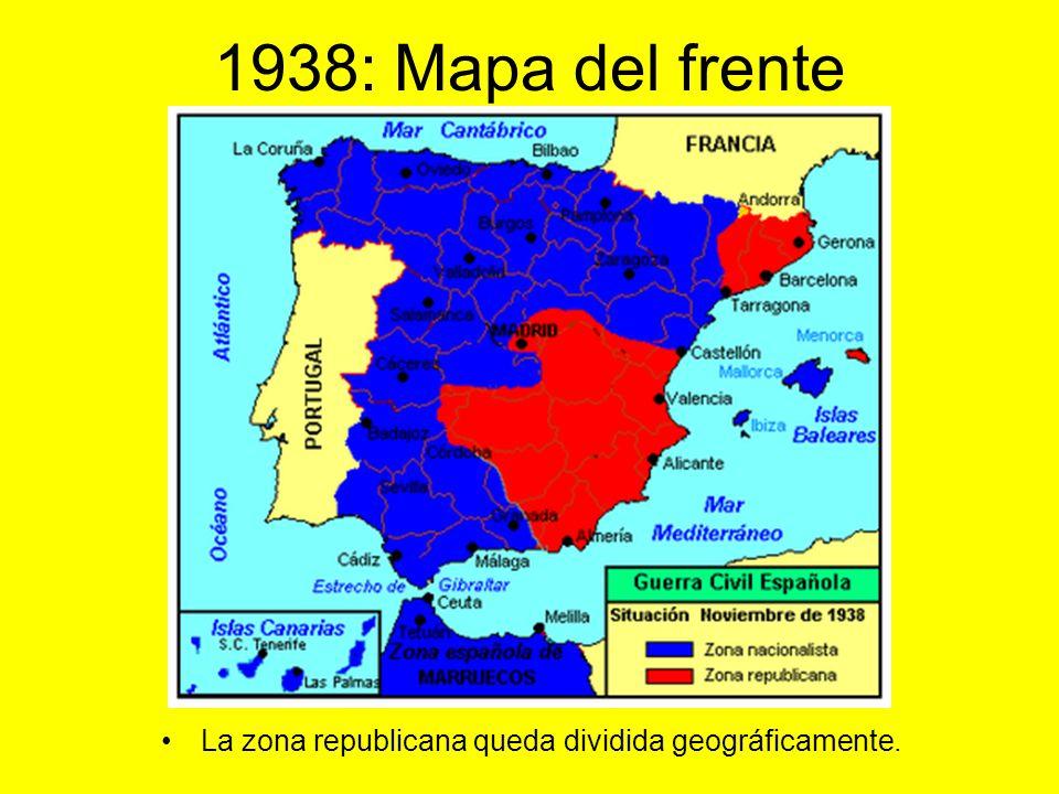 1938 : Movimientos de las tropas, frentes y batallas: Mapa del periodo. Zona rebelde. Zona republicana.