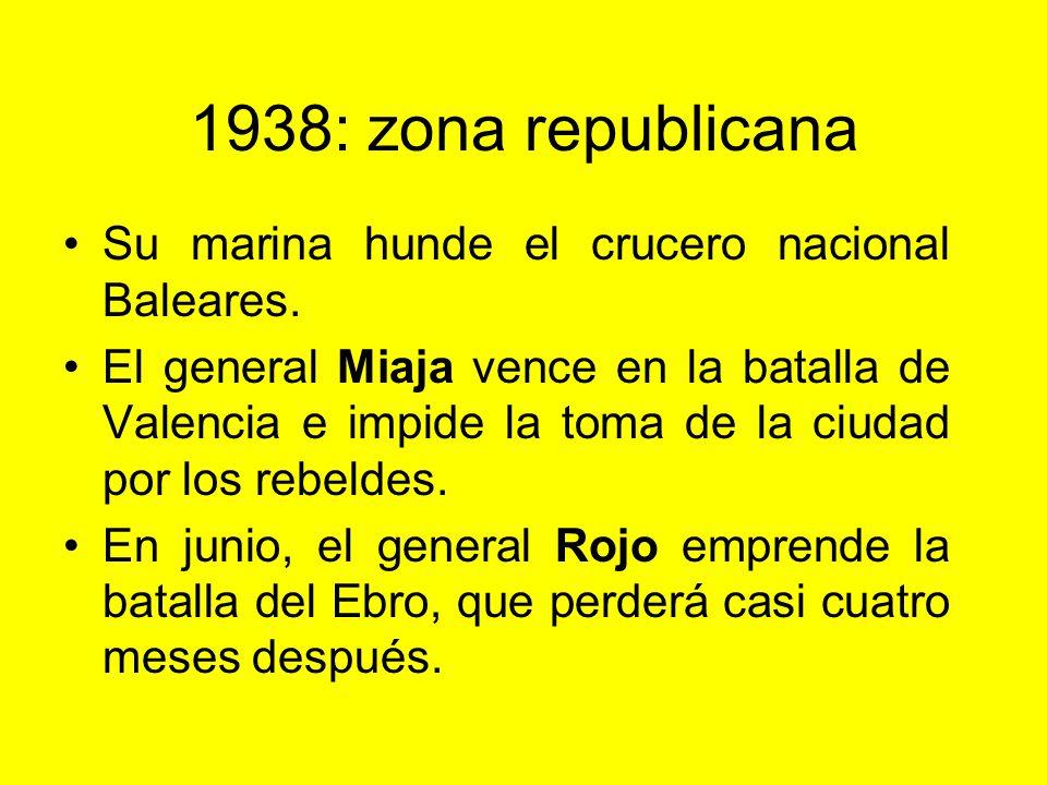 1938: zona rebelde Recuperan Teruel. Gran ofensiva en el frente de Aragón. Toman Lérida y se dirigen hacia el Mediterráneo. Toman Castellón, pero no V
