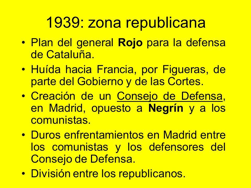 1939: zona rebelde A lo largo del invierno van tomando Cataluña. 26 de enero: toma de Barcelona. 31 de enero: toma de Gerona. 27 de marzo: toma de Mad