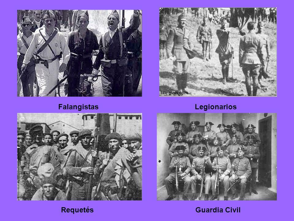 Zona rebelde El ejército de África: 30.000 (legionarios y regulares) + 12.000 marroquíes. La mitad del ejército de la Península (unos 80.000). Civiles