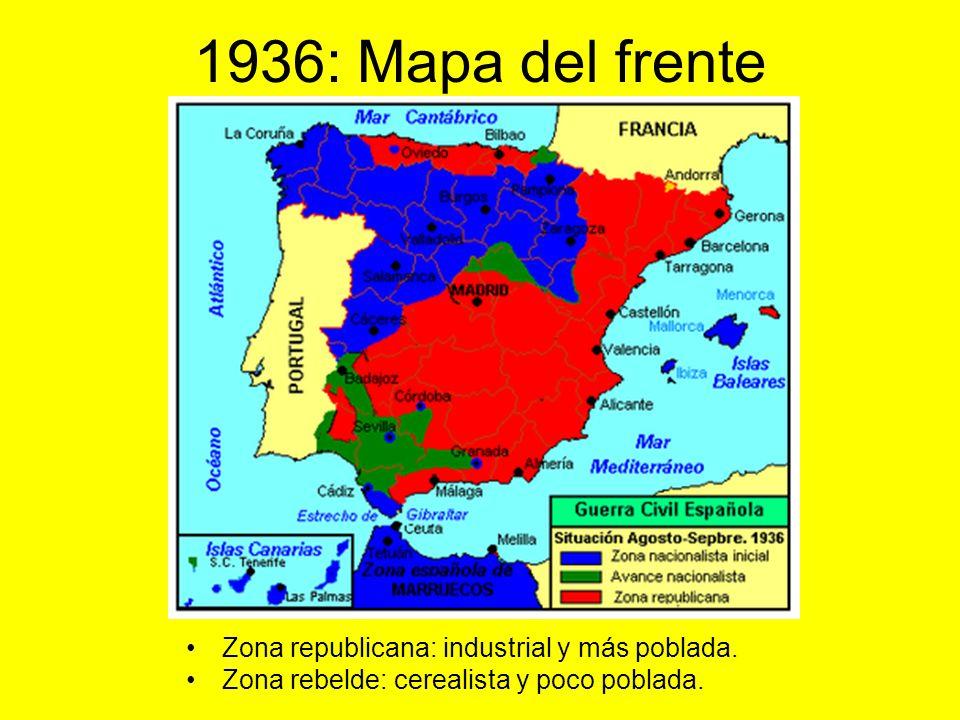 1936 : Movimientos de las tropas, frentes y batallas: Mapa del periodo. Zona rebelde. Zona republicana.
