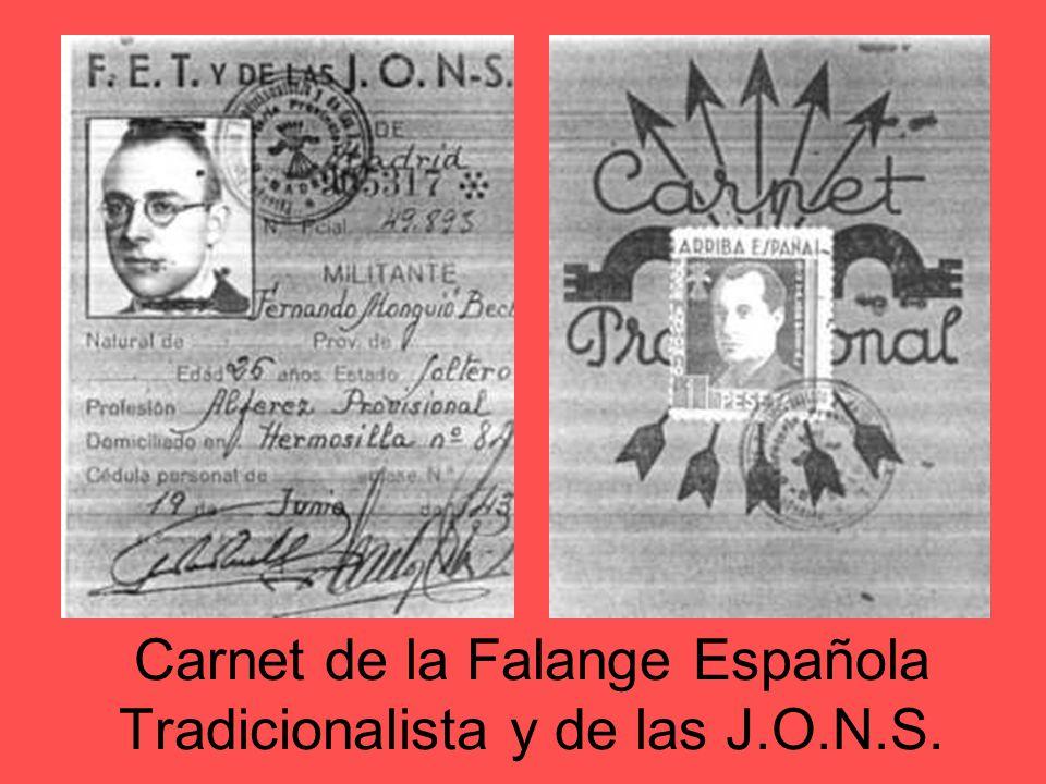 Zona rebelde Falange Española y de las JONS: surge de la fusión en 1934 de la Falange Española fundada por José Antonio Primo de Rivera y las JONS cre