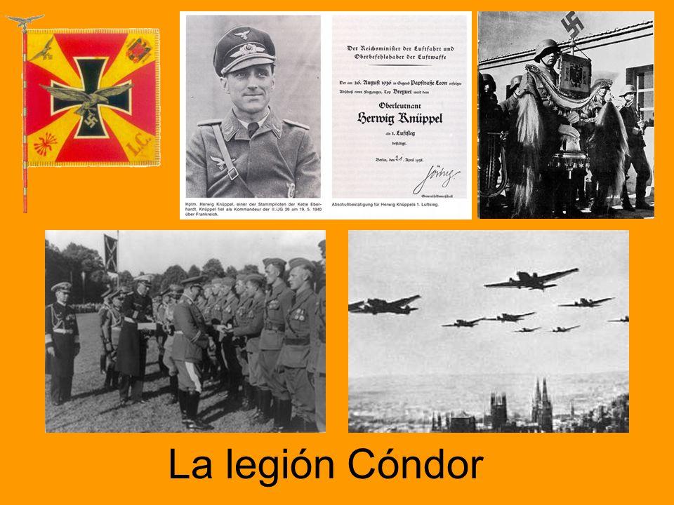 Zona rebelde: Alemania e Italia Aviones alemanes trasladan las tropas rebeldes de África a la Península en agosto de 1936. Hitler y Mussolini envían s