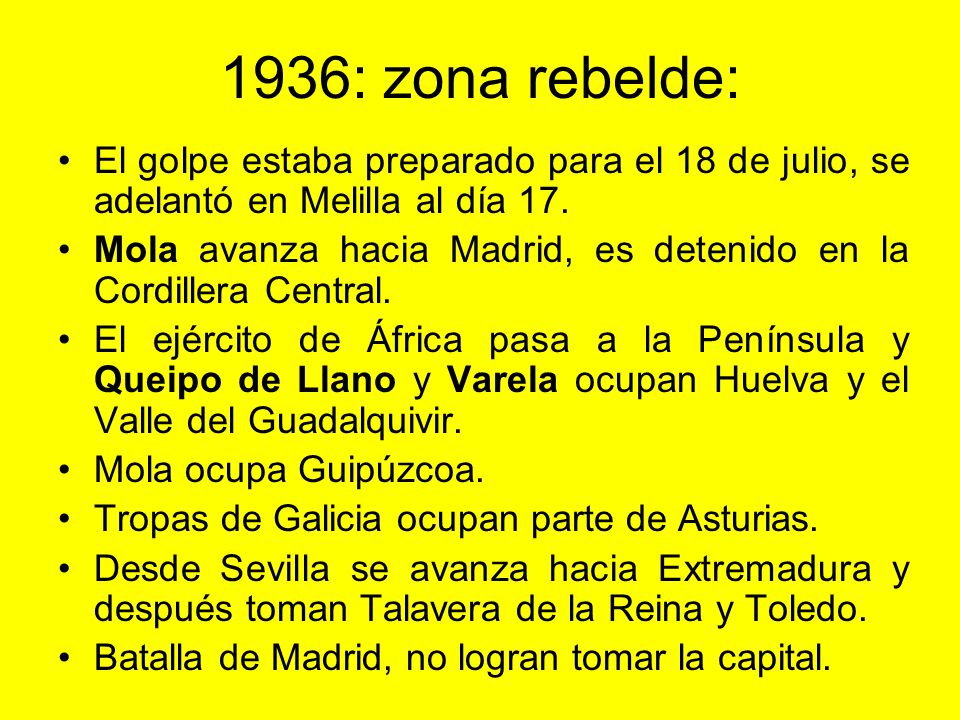 1936: zona rebelde: El golpe estaba preparado para el 18 de julio, se adelantó en Melilla al día 17.