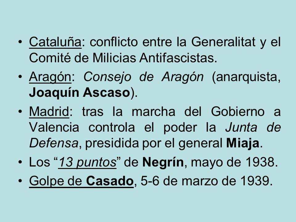 Zona republicana DIVIDIDO, DESORDENADO, ENFRENTADO. Presidente de la República: Manuel Azaña. Jefes de Gobierno: Casares, Martínez Barrio y Giral (ver