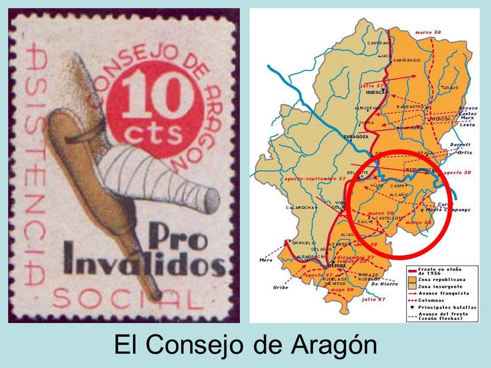 Cataluña: conflicto entre la Generalitat y el Comité de Milicias Antifascistas. Aragón: Consejo de Aragón (anarquista, Joaquín Ascaso). Madrid: tras l