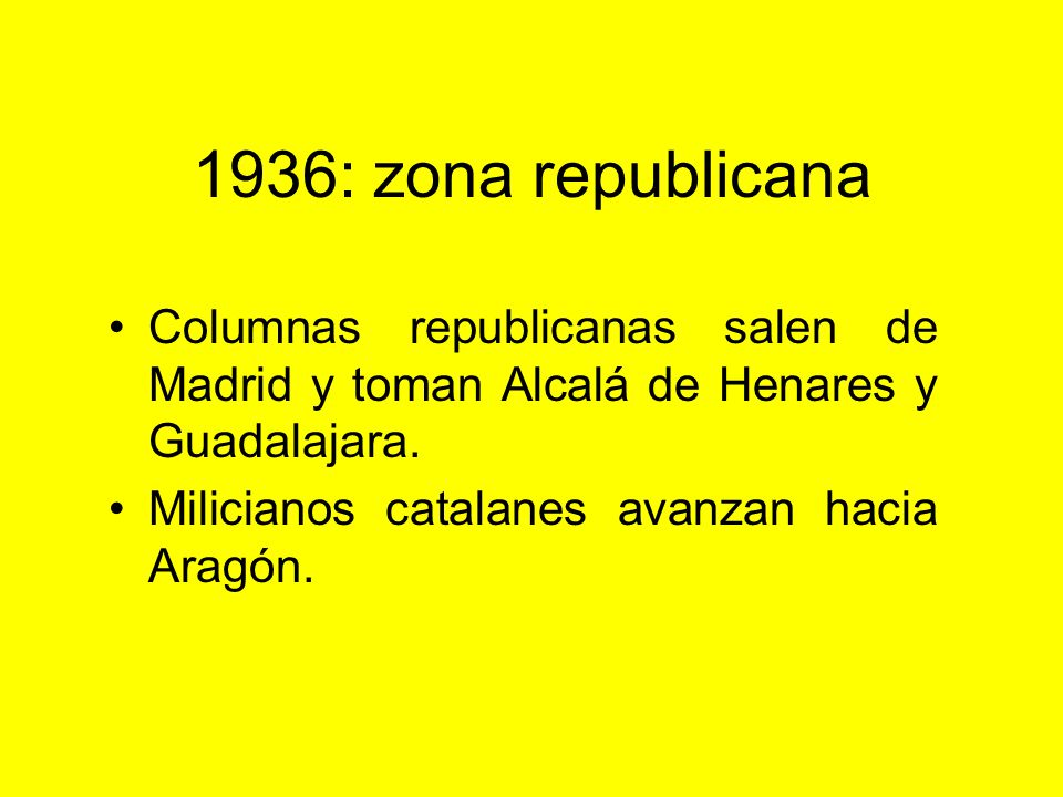 1936: zona rebelde: El golpe estaba preparado para el 18 de julio, se adelantó en Melilla al día 17. Mola avanza hacia Madrid, es detenido en la Cordi