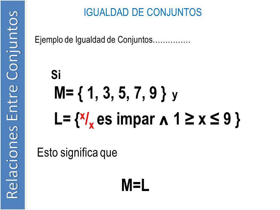 Ejemplo de Igualdad de Conjuntos…………… IGUALDAD DE CONJUNTOS Si M= { 1, 3, 5, 7, 9 } y L= { x / x es impar ^ 1 x 9 } Esto significa que M=L