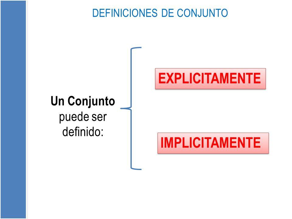 DEFINICIONES DE CONJUNTO EXPLICITAMENTE IMPLICITAMENTE Un Conjunto puede ser definido: