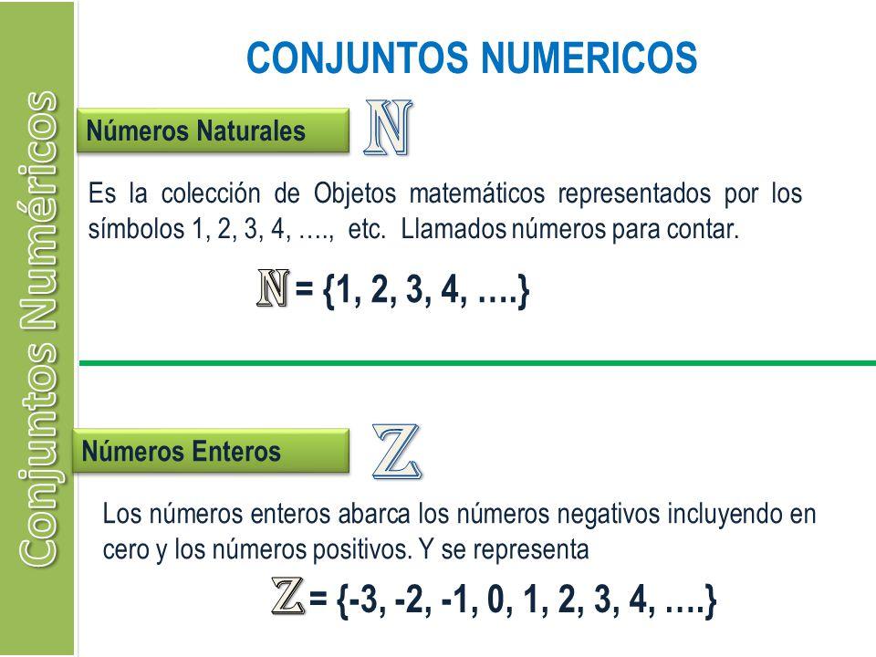 CONJUNTOS NUMERICOS Números Naturales Es la colección de Objetos matemáticos representados por los símbolos 1, 2, 3, 4, …., etc. Llamados números para