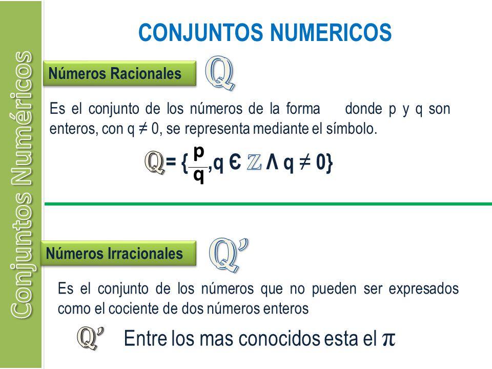 CONJUNTOS NUMERICOS Números Racionales Es el conjunto de los números de la forma donde p y q son enteros, con q 0, se representa mediante el símbolo.