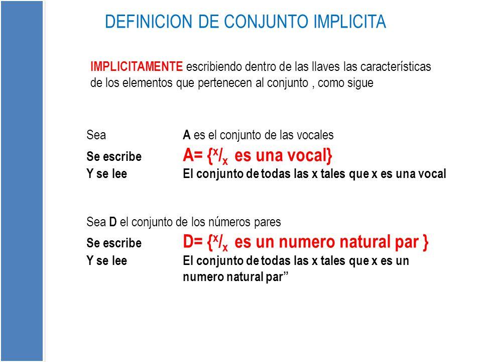 IMPLICITAMENTE escribiendo dentro de las llaves las características de los elementos que pertenecen al conjunto, como sigue DEFINICION DE CONJUNTO IMP