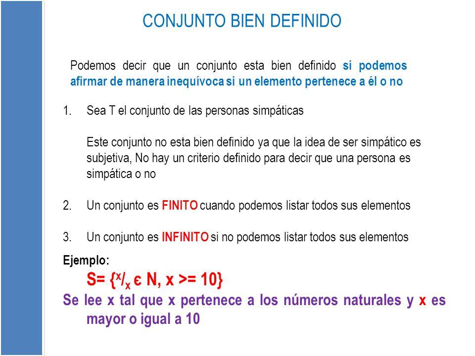 Podemos decir que un conjunto esta bien definido si podemos afirmar de manera inequívoca si un elemento pertenece a él o no CONJUNTO BIEN DEFINIDO 1.S
