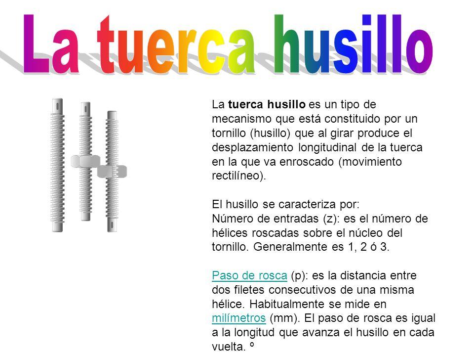 La tuerca husillo es un tipo de mecanismo que está constituido por un tornillo (husillo) que al girar produce el desplazamiento longitudinal de la tue