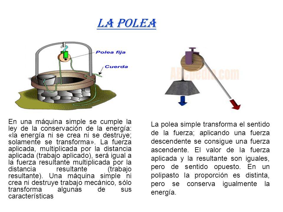En una máquina simple se cumple la ley de la conservación de la energía: «la energía ni se crea ni se destruye; solamente se transforma». La fuerza ap