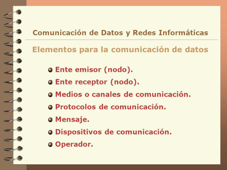Ente emisor (nodo). Ente receptor (nodo). Medios o canales de comunicación. Protocolos de comunicación. Mensaje. Dispositivos de comunicación. Operado