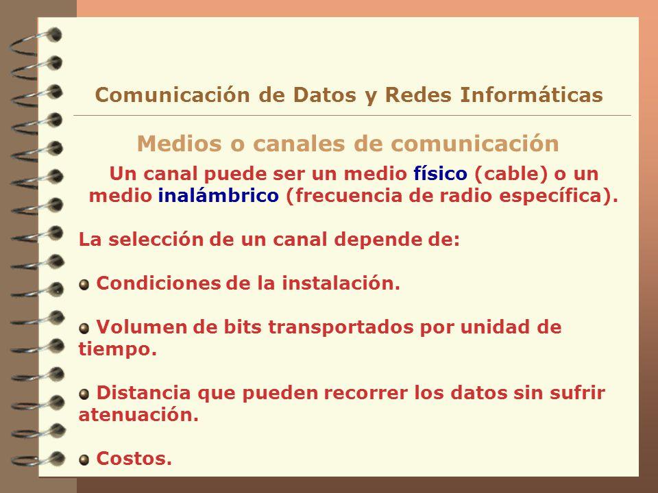 Un canal puede ser un medio físico (cable) o un medio inalámbrico (frecuencia de radio específica). La selección de un canal depende de: Condiciones d