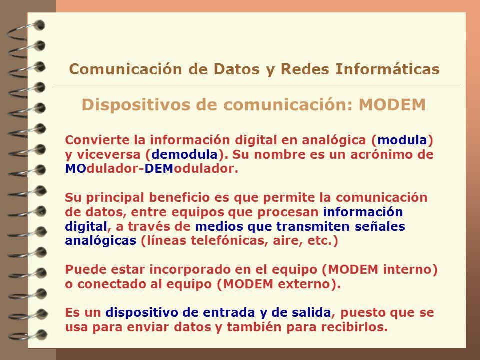 Convierte la información digital en analógica (modula) y viceversa (demodula). Su nombre es un acrónimo de MOdulador-DEModulador. Su principal benefic