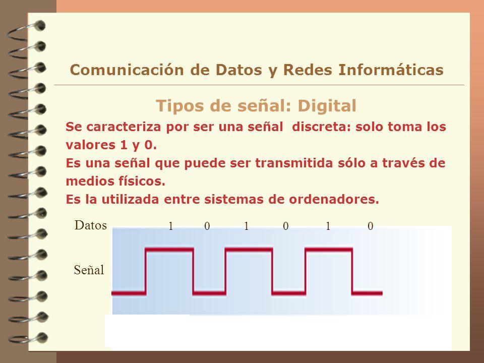 Se caracteriza por ser una señal discreta: solo toma los valores 1 y 0. Es una señal que puede ser transmitida sólo a través de medios físicos. Es la