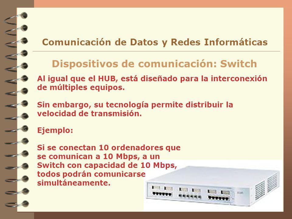 Al igual que el HUB, está diseñado para la interconexión de múltiples equipos. Sin embargo, su tecnología permite distribuir la velocidad de transmisi