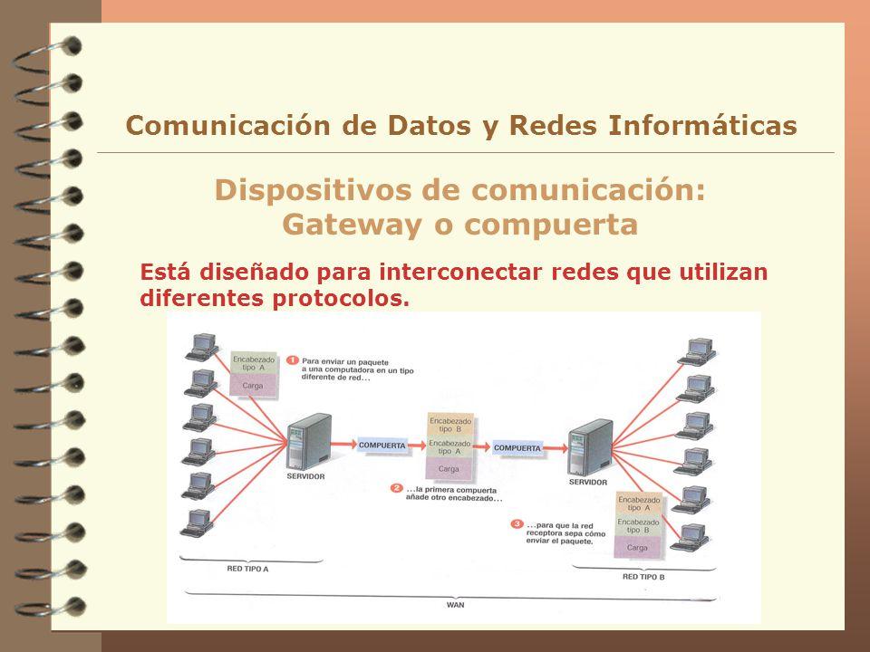 Está diseñado para interconectar redes que utilizan diferentes protocolos. Dispositivos de comunicación: Gateway o compuerta Comunicación de Datos y R