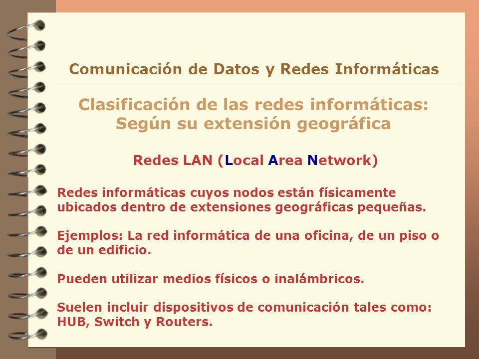 Redes LAN (Local Area Network) Clasificación de las redes informáticas: Según su extensión geográfica Comunicación de Datos y Redes Informáticas Redes