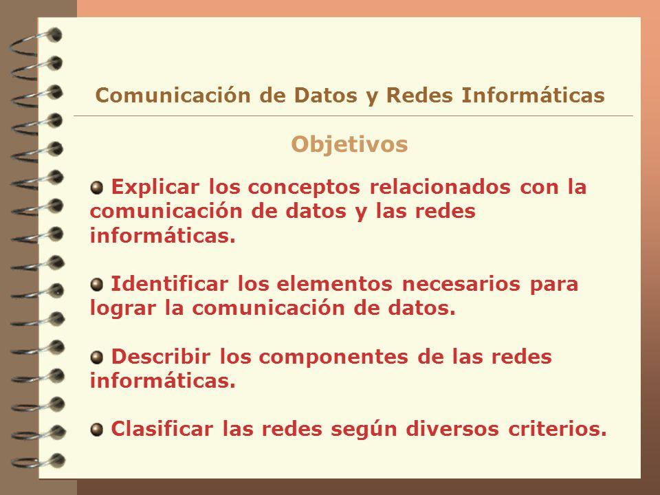 Explicar los conceptos relacionados con la comunicación de datos y las redes informáticas. Identificar los elementos necesarios para lograr la comunic