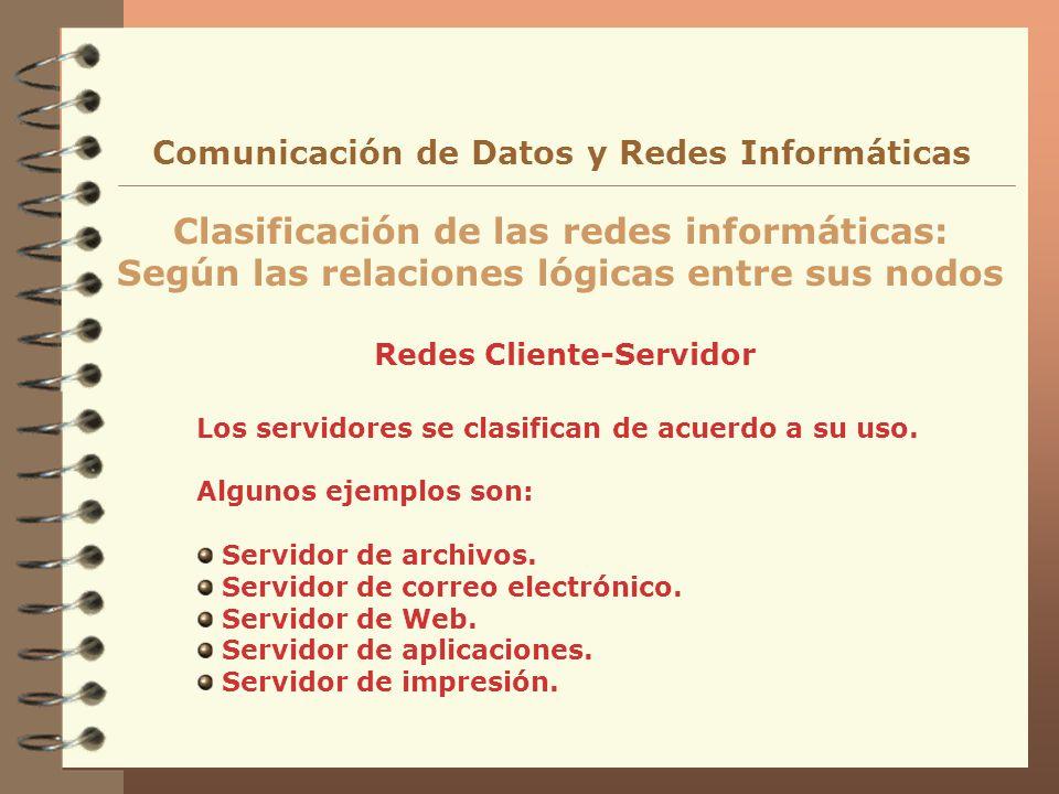 Redes Cliente-Servidor Clasificación de las redes informáticas: Según las relaciones lógicas entre sus nodos Comunicación de Datos y Redes Informática