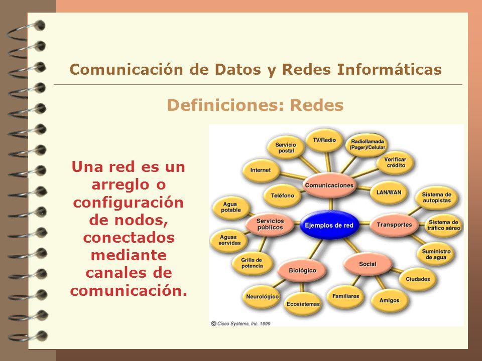 Una red es un arreglo o configuración de nodos, conectados mediante canales de comunicación. Definiciones: Redes Comunicación de Datos y Redes Informá