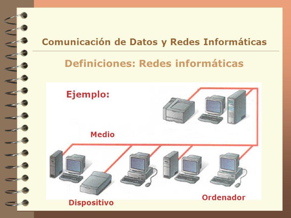 Definiciones: Redes informáticas Comunicación de Datos y Redes Informáticas Ejemplo: Dispositivo Ordenador Medio