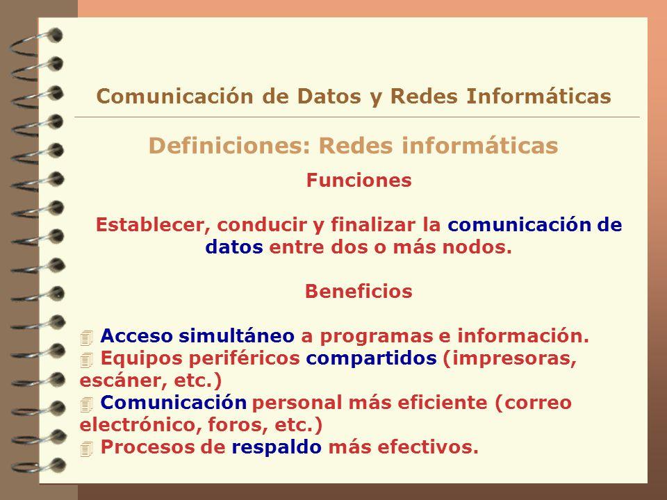 Funciones Establecer, conducir y finalizar la comunicación de datos entre dos o más nodos. Beneficios 4 Acceso simultáneo a programas e información. 4