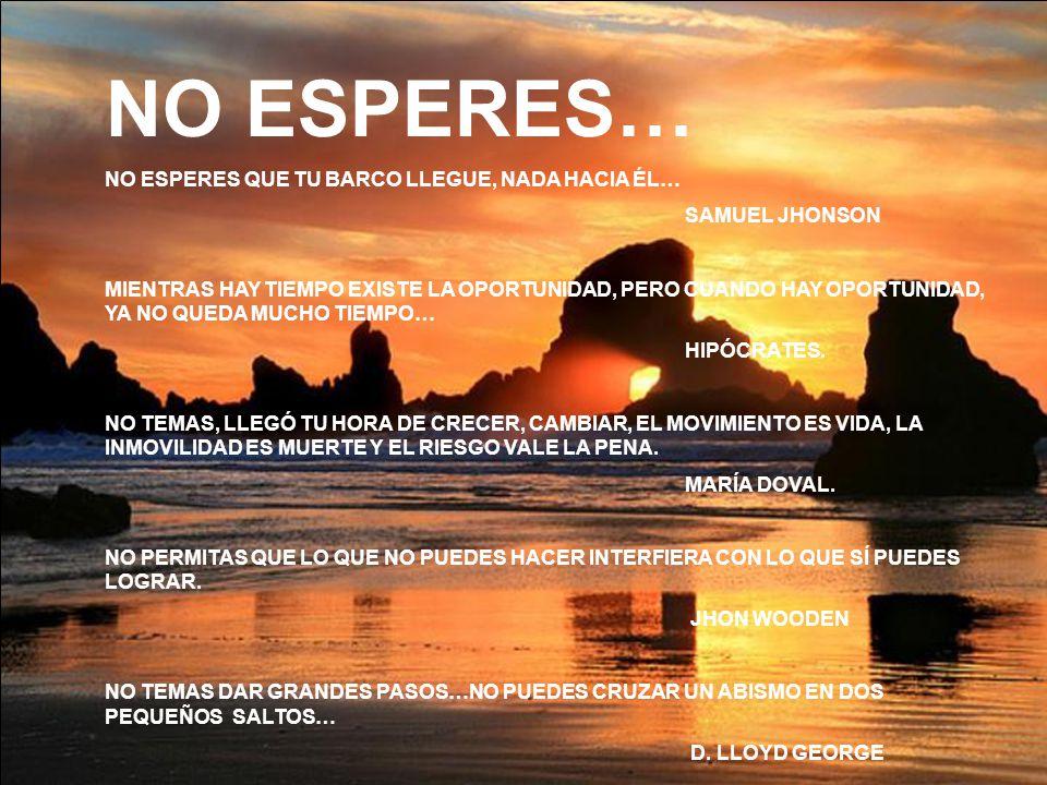 NO ESPERES… NO ESPERES QUE TU BARCO LLEGUE, NADA HACIA ÉL… SAMUEL JHONSON MIENTRAS HAY TIEMPO EXISTE LA OPORTUNIDAD, PERO CUANDO HAY OPORTUNIDAD, YA N
