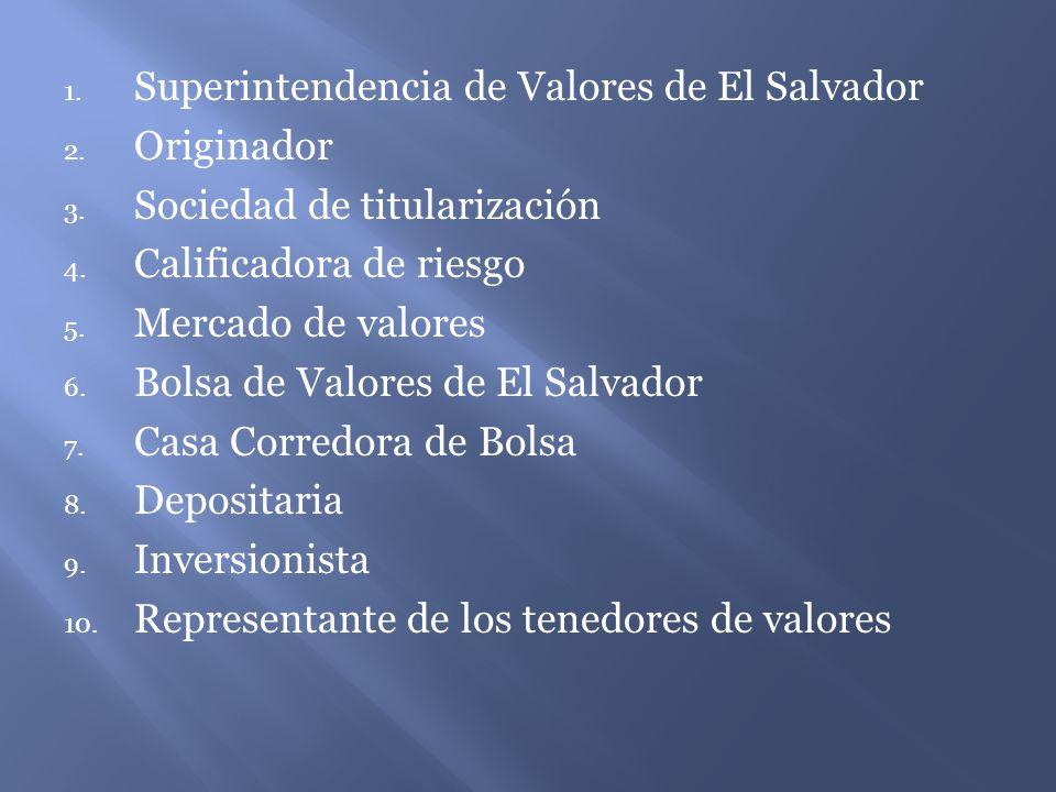 1.Superintendencia de Valores de El Salvador 2. Originador 3.